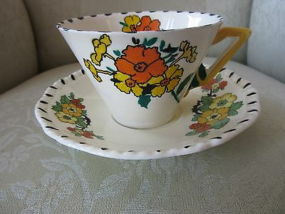 VINTAGE ART DECO Burleigh Ware FLOWER HANDLE CUP & SAUCER hand painted