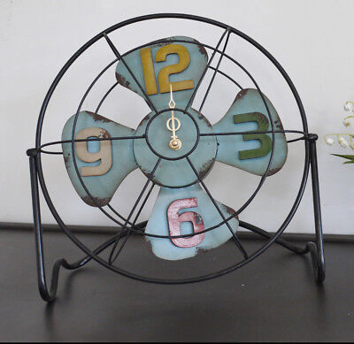 Retro Style Metal Fan Desk Mantle Clock Shabby Chic Multi Coloured Numbers New