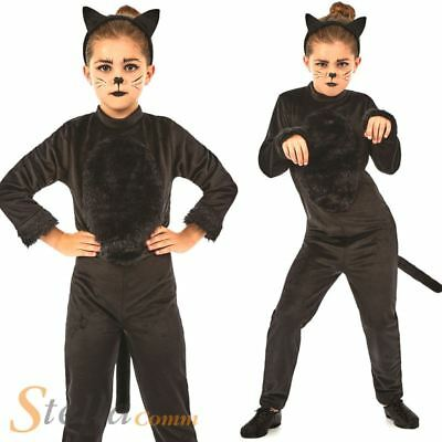 Girls Black Cat Halloween Costume Animal Jumpsuit Fancy Dress Outfit