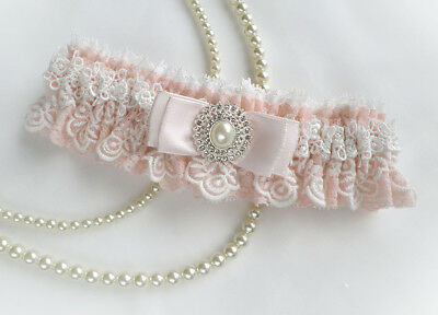 Boxed LIGHT PINK LACE PERSONALIZED WEDDING BRIDAL VINTAGE INSPIRED GARTER