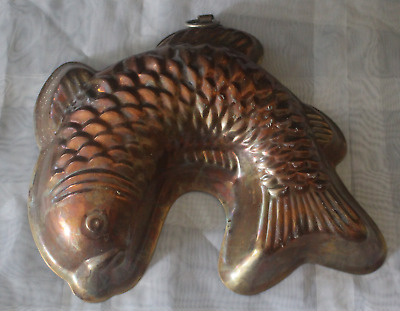 antike Backform Fisch Kupfer um 1900 gross ca. 22x20 cm