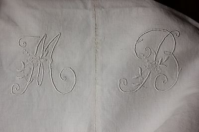 Antique French linen sheet trousseau 80X95 MB monogram heavy weight metis old