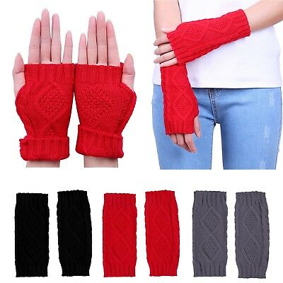 Women's Fingerless Gloves Crochet Cable Knit Wrist, Hand, and Arm Warmers