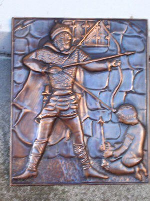 Vintage Antique Medieval Style Knight Long Bow Arrow Copper Embossed Plaque