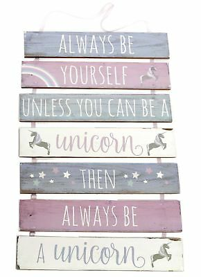 7 Tier Hanging Wooden Unicorn Plaque Sign ~ Always Be Yourself