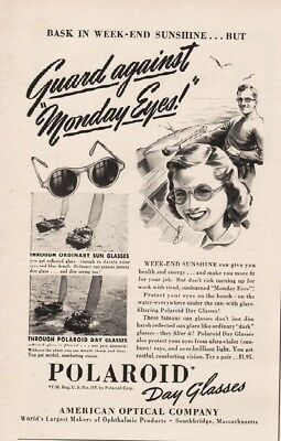 1942 Polaroid Day Glasses American Optical Sunglasses Southbridge MA Ad