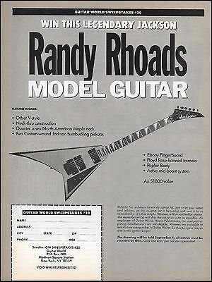 Jackson Randy Rhoads Offset V-Style Model Guitar contest entry form 8 x 11 ad