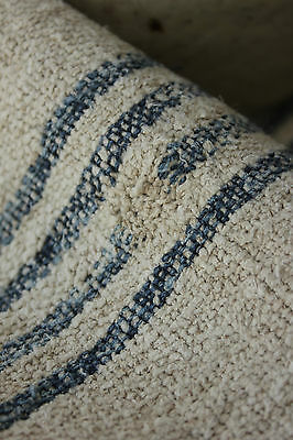 Antique GRAIN SACK natural indigo blue Primitive WONDERFUL textile c1850 HJ mono