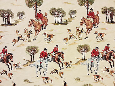 Fox Hunting Tapestry T63  Multi Coloured Curtain Blinds Fabric Vintage Rustic