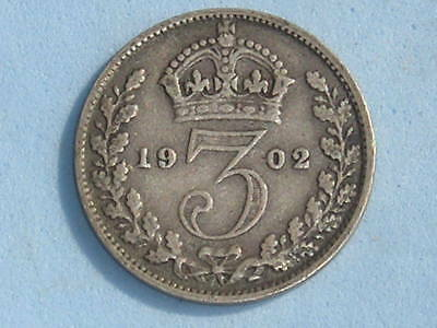Great Britain Edward Vii Silver Threepence 1902 £4.00 Uk Post Paid (216