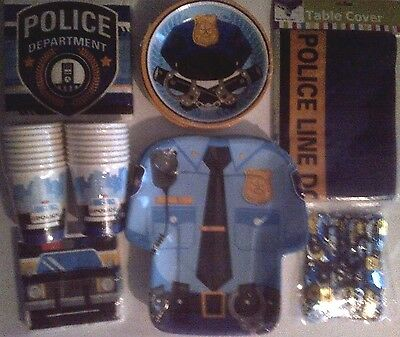 POLICE PARTY Birthday Party Supply SUPER Kit w/Confetti & Tablecover