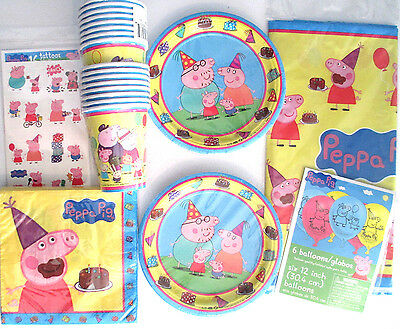 PEPPA PIG Birthday Party Supply Kit w/ Balloons & Tattoos
