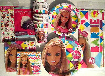 BARBIE Sparkle Birthday Party Supply SUPER Kit w/ Balloons & Tattoos
