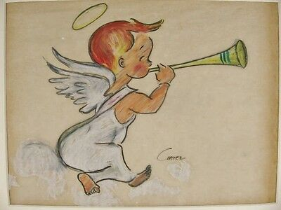 Vintage CORTEZ Cherub Baby Christmas Angel Trumpet DRAWING Original Illustration