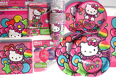 HELLO KITTY Rainbow Birthday Party Supply SUPER Kit w/Balloons,Loot Bags & Inv.
