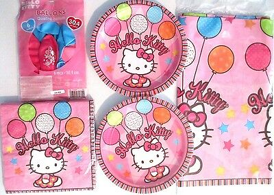 HELLO KITTY Balloon Dreams Birthday Party Supply Kit w/Plates,Napkins & Balloons