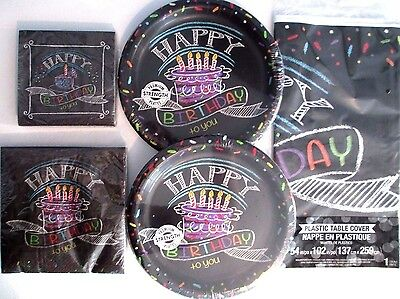 CHALK HAPPY BIRTHDAY - Birthday Party Supply SUPER kit for 16