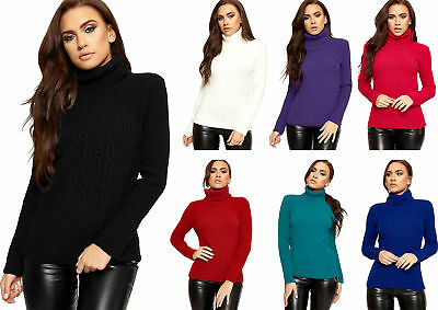 Womens Long Sleeve Polo Neck Knitted Ribbed Stretch Sweater Top Ladies Jumper