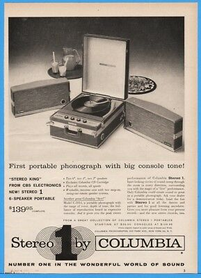 1959 Columbia Model C-1014 Record Player Turntable 50s Portable Phonograph Ad