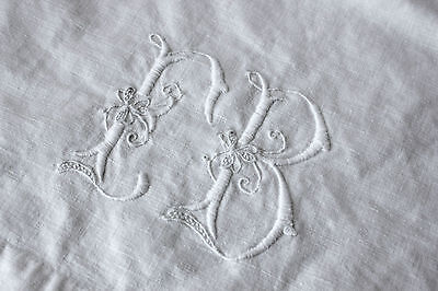 Antique vintage French metis linen cotton sheet heavy ~ FB EB 78X106