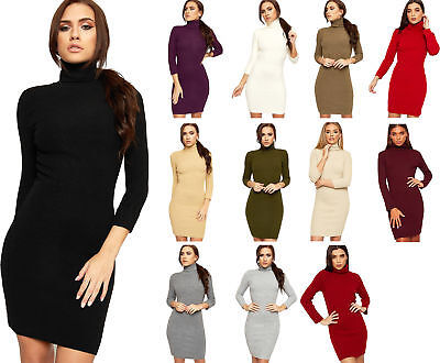 Womens Polo Neck Knitted Long Sleeve Plain Stretch Bodycon New Ladies Mini Dress