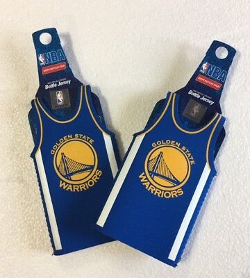 Lot of 2 Golden State Warriors Bottle Jersey Beer Holder Can Cooler Sleeves NEW