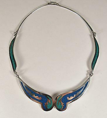 Vintage MEXICAN STERLING 925 Silver Mixed Stone Inlay Necklace