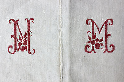 Antique French linen sheet ~ MM  monogram 77X98 ~ CHARMING cross stitch mono red