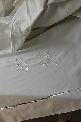 French  sheet Vintage  81X 112 cotton  white monogram Linen LOVELY sheet