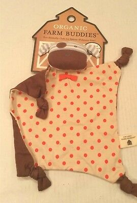 Eco Organic Farm Buddies Boxer Dog Baby Infant Rattle Teething 100% Cotton