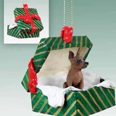 Miniature Pinscher Red Brown Dog Green Gift Box Holiday Christmas ORNAMENT