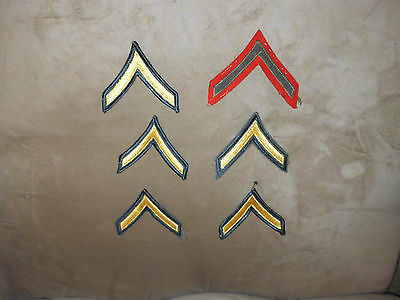 VTG Lot of 6 U.S. Army Private Green Gold & 1 Red Single Chevron Stripe Patches