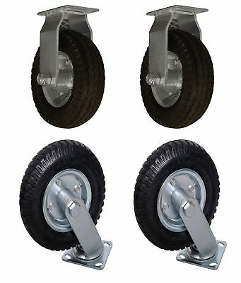 "4 PACK 8"" Air Tire (2) SWIVEL (2) FIXED Base Caster Heavy Duty Bearing Pneumatic"