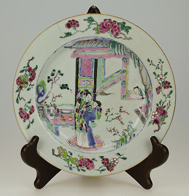 ANTIQUE 18thC CHINESE FAMILLE ROSE YONGZHENG PORCELAIN PLATE