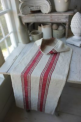 GRAINSACK GRAIN SACK fabric linen homespun European RED BLACK old bag