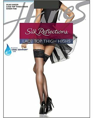 Women's Lingerie Hanes Silk Reflections Lace Top Thigh Highs Stockings