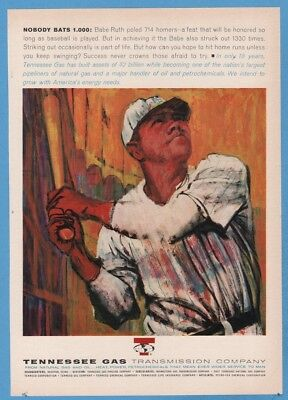 1963 Babe Ruth Baseball NOBODY BATS 1.000 Striking Out Tennessee Gas Ad