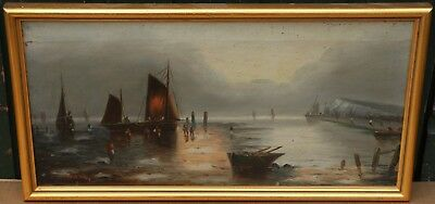 Old Gilt Framed Painting On Canvas Of Boats Etc By W H Day    (1