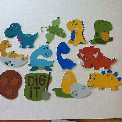 12 X Cute Baby Dinosaur Theme Toppers -Cardmaking-Prehistoric Animals