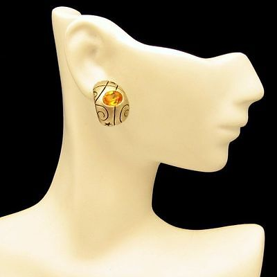 Topaz Glass Curved Gold Plated Engraved Post Earrings Vintage Unique Design