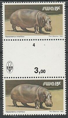 South West Africa 1980 Hippo 15C Gutter Proof Pair Mnh **