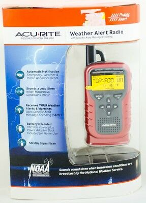 Acu Rite Portable NOAA Weather Radio With S.A.M.E Red Model 08550 New Original
