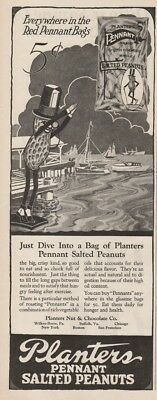 1922 Planters Nut & Chocolate Co Wilkes Barre PA Suffolk VA Mr Peanuts Diving Ad