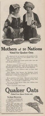 1922 Quaker Oats Macaroon Recipe Mothers of 50 Nations Kitchen Wall Decor Ad