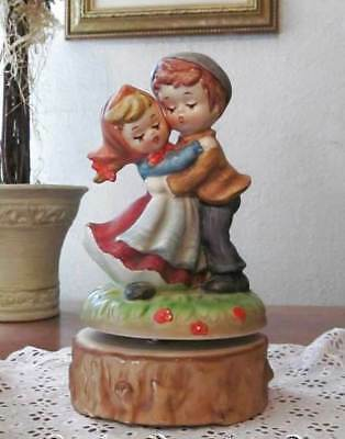 Lefton China Boy and Girl Statue on Vintage Revolving Music Box 7634