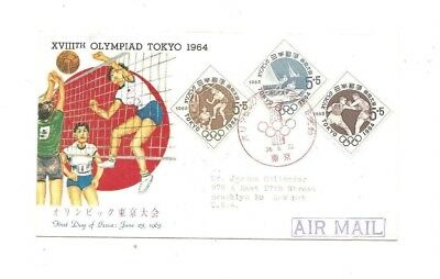 First day cover 1964 Tokyo Olympics, volleyback cachet