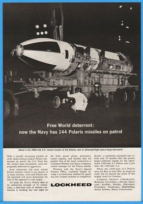 1963 POLARIS A3 Nuclear Missile US Navy Lockheed Flight Test Cape Canaveral Ad