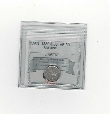 **1889**, Coin Mart Graded Canadian,  5 Cent **VF-30**Rim Ding