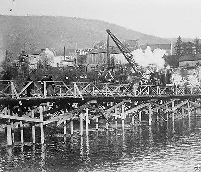 Wooden bridge over the Meuse River in Dinant Belgium World War I WWI 8x10 Photo
