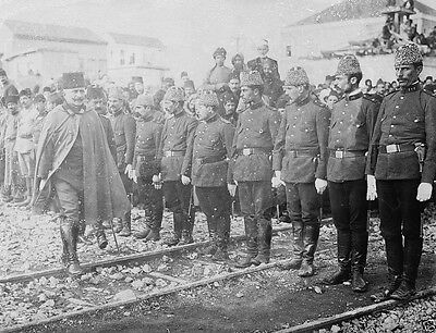 Turkish Ottoman Empire troops being reviewed by officer World War I 8x10 Photo